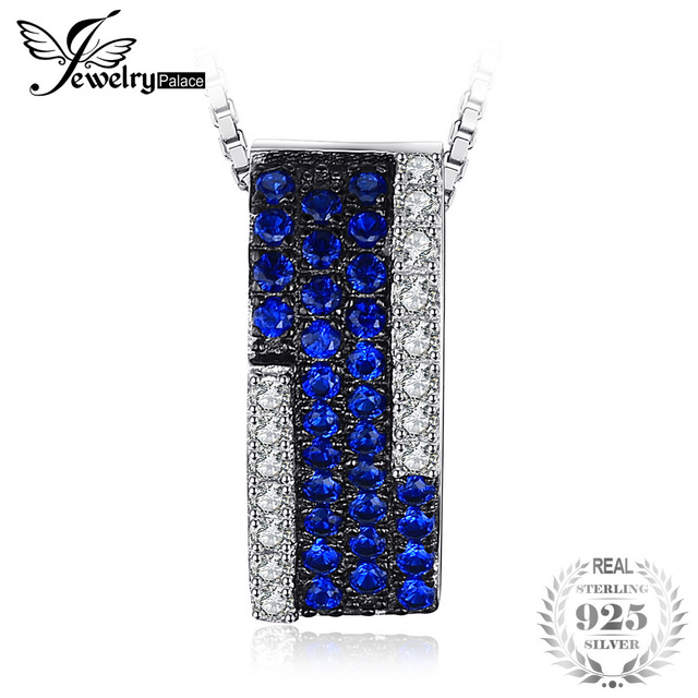 JewelryPalace Created Blue Spinel Cluster Cocktail Pendant Necklace 925 Sterling