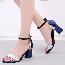 07eebcdcd Mulher Sandálias de Salto Quadrado Mulheres Sapatos De Salto Alto com Tira  No Tornozelo Sandálias Das