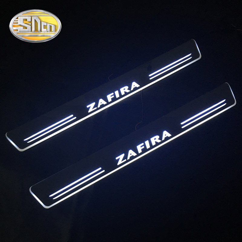 SNCN Waterproof Acrylic Moving LED Welcome Pedal Scuff Plate Pedal Door Sill Pathway Light For Opel Zafira 2012 - 2015 2016 fsylx led door moving scuff welcome pedal door sill plate light for audi q3 2013 2015 white led pedal light for q7 2006 2015