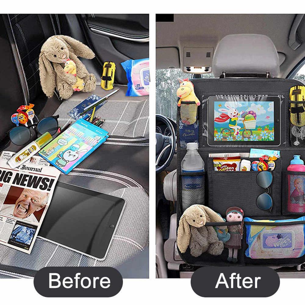 รถ Backseat Organizer ผู้ถือแท็บเล็ตหน้าจอสัมผัส + 9 กระเป๋าเก็บ KICK Mats รถกลับป้องกันสำหรับเด็กเด็กวัยหัดเดิน