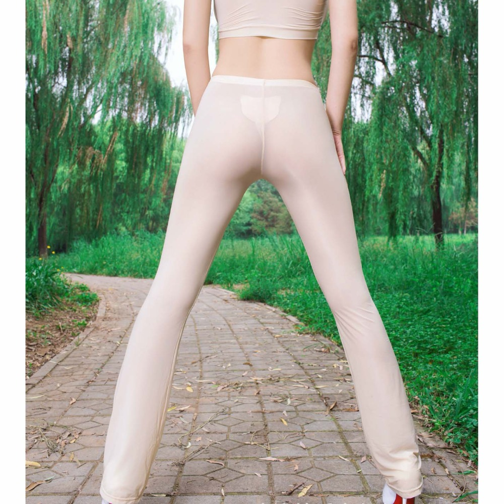 Ice Silk Candy Color Shiny Elastic Exotic Flare Pants Wetlook Sexy Transparent Trousers Women Fitness Legging Push Up Leggings
