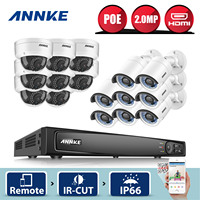ANNKE Professional 16CH 1080P POE Security Camera System 16CH Security NVR With 8pcs 2MP CCTV Dome
