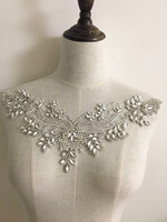 1 pc/lot Exquisite rhinestone beaded bridal applique with silver thread iron on fabric base, bridal sash belt wedding applique