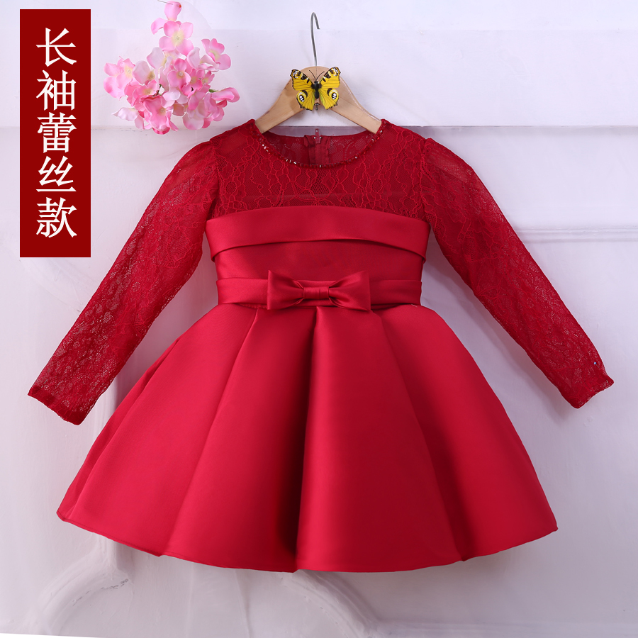 New Korean Girls Long Sleeved Kids Girls Birthday Princess Dress Evening Gown and Presided Over Chorus Party Beauty Dress Red