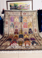 Mingxin 6x9 feet four seasons geometry carpet turkish design for sale handmade rug persian hereke silk carpets floor mat tapete