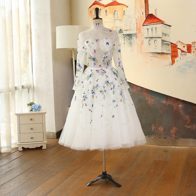 De Longueur Banquet Manches Haut Broderie Sur Fait Fleurs Illusion Commande Col Thé Robe Courtes Robes Longues Blanc Soirée Bal EqZ4gO