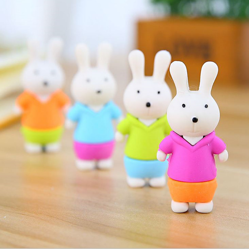 Coloffice 2PSC/Lot Cute Rabbit Eraser Kawaii Colorful Creative Pencil Eraser Writing Drawing Stationery School Office Supplies