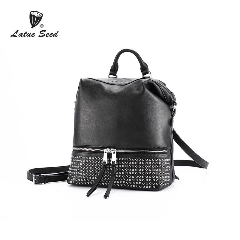 Latue Seed Female Shoulder Bag 2018 New Rivet Genuine Leather Casual Backpack Diagonal Hanging Shoulder Bag Solid Black Backpack