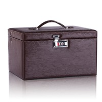 Large Brown Jewellery Box PU Watch Carrying Cases Leather Trinkets Storage Cabinet Rings Cufflinks Display With