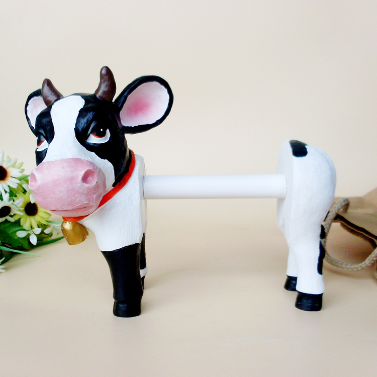 Aliexpress Com Buy Resin Cartoon Dairy Cow Sculpture Milk Cow Ornament Paper Towel Holder Decoration Toilet Paper Shelf Multifunction Home Decor From