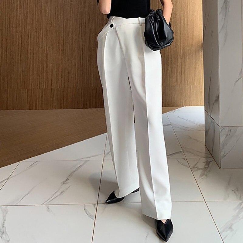 Image 4 - CHICEVER Summer Elegant Solid Women Pant High Waist Irregular  Button Fly Pockets Pleated Slim Regular Female Straight Pants 2020Pants