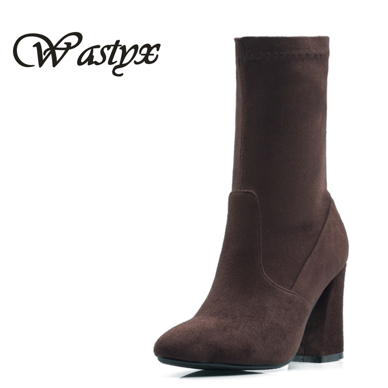 все цены на Wastyx new women boots fahsion high heels mid calf boots hoof heels shoes woman sexy pointed toe winter boots plus size 34-46