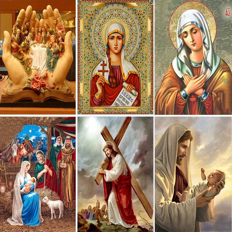 DIY Diamond Painting Cross Stitch Icon Mosaic Patterns 5D Religious Characters Jesus Handwork Home Decor Diamond Embroidery Gift