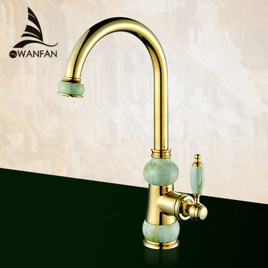 European Natural Jade and Gold Kitchen Faucet Hot and Cold Vegetables Basin Rotate Taps Drinking Water
