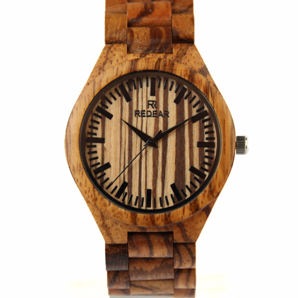 Men's Fashion Zebra Wood Watch Japan Movement Quartz Wristwatch 100% Handmade Wooden Watches bobo bird brand new sun glasses men square wood oversized zebra wood sunglasses women with wooden box oculos 2017