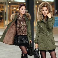 2017 New Winter Wool Coat Casual Army Green Jacket Women Solid Thick Womens Parkas With Fur Hoods Cashmere Long Coats Outwear