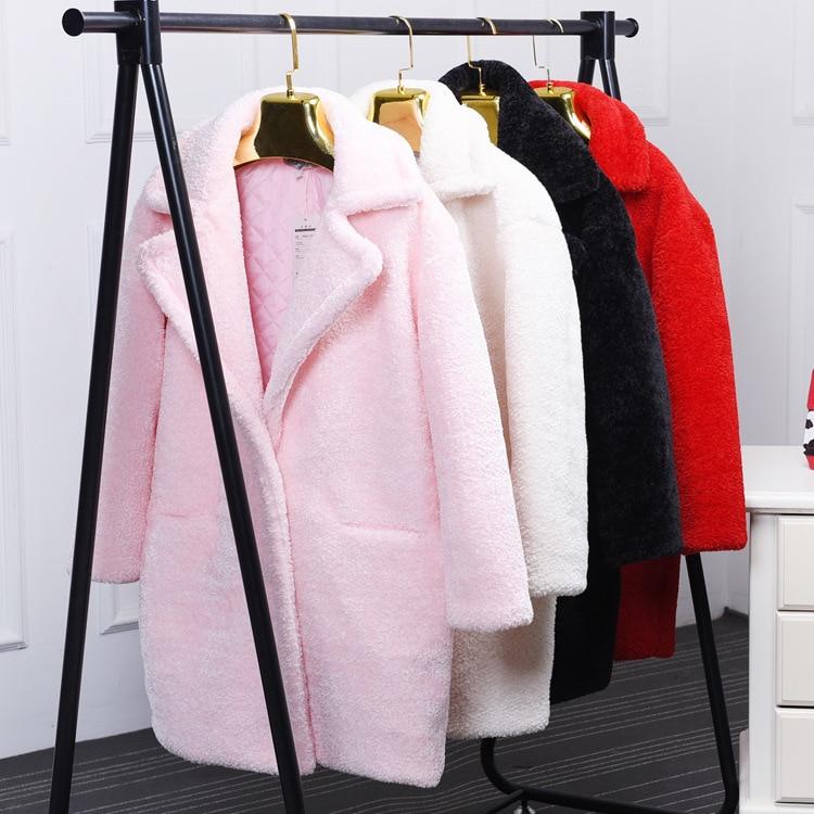 Cisaillé Faux Vêtements Moutons Et Européen Nouvelles Fourrure Femmes Long Pardessus Beige noir Manteau Mode Américain De 0911 rose D'hiver rouge Ov84x8