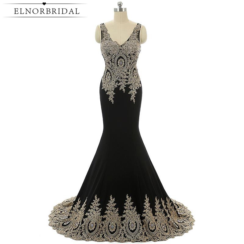 Modest Black Arabic Evening Dress Mermaid 2017 Robe De Soiree Formal Imported Party Dress Beading V Neck Party Prom Gowns