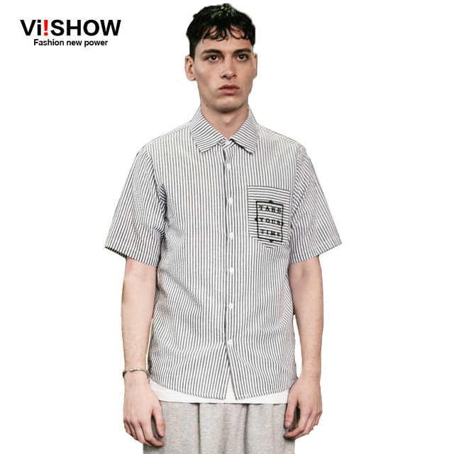 Viishow Chemises Clothing Marque Conception Chemise Rayé Mode Hommes taw6ar
