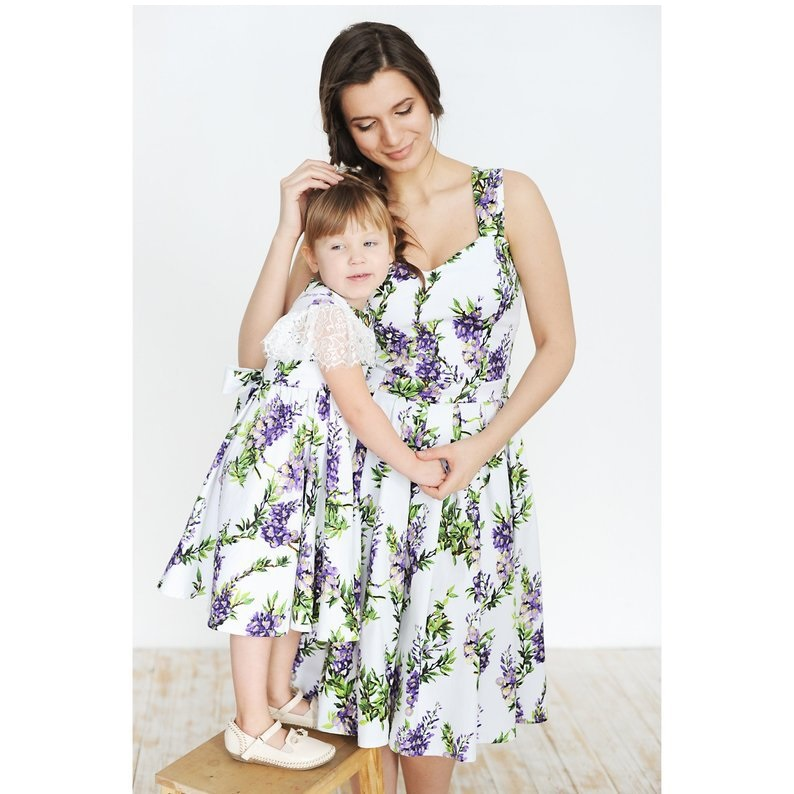 Fashion Mother And Daughter Dresses Flower Sleeveless Mommy And Me Clothes Family Matching Outfits Look Mom Mum Baby Girls Dress