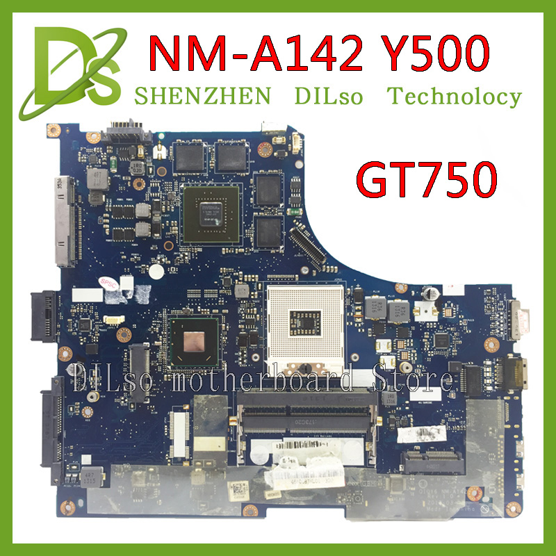 KEFU NM-A142 For lenovo ideapad Y500 QIQY6 NM-A142 laptop motherboard Y500 GT750 mainboard with graphics card Test kefu 5b20l77440 nm a804 for lenovo ideapad 110 15ibr laptop motherboard n3060 tested