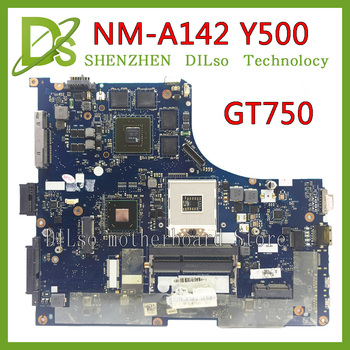 KEFU NM-A142 For lenovo ideapad Y500 QIQY6 NM-A142 laptop motherboard Y500 GT750 mainboard with graphics card Test