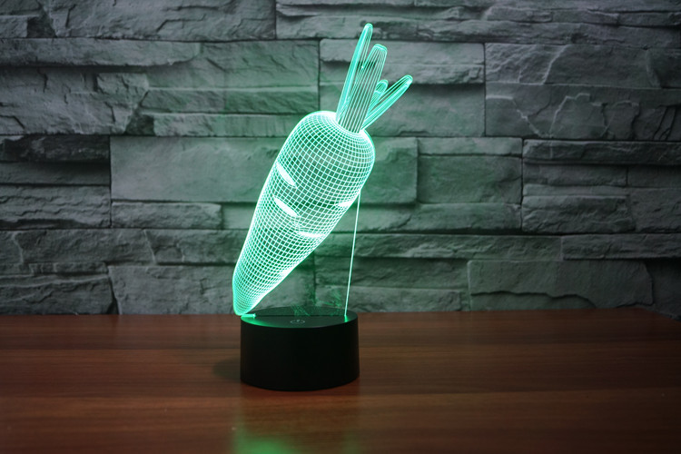 3D Vegetables toys Rabbit Carrot Visual Lamp Color Changing LED Night Light Illusion Table Lamp For Kids Baby Bedroom (2)