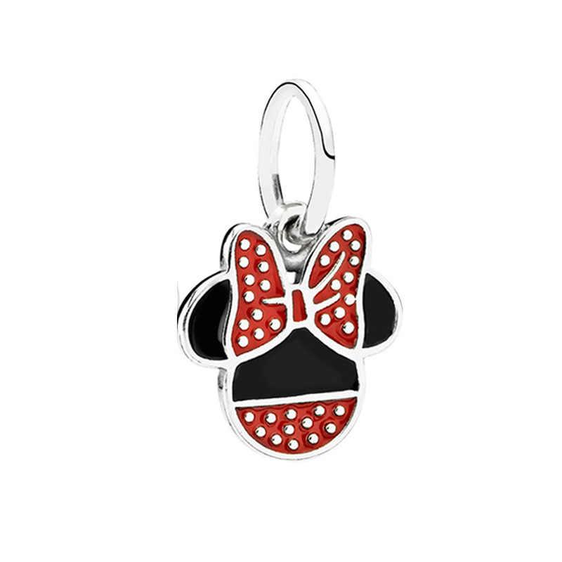 Homod Mạ Bạc Thả Men Mickey & Minnie Mouse Hạt Phù Hợp Với Pandora Mặt Dây Chuyền Hạt Tòn Ten Hoạt Hình Quyến Rũ Phù Hợp Với Thương Hiệu Vòng Tay Quyến Rũ