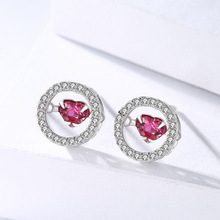 hot deal buy genuine 925 sterling silver east gate popular jewelry heart-shaped red crystal beating heart similar pure silver ear nail