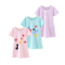 4-15T Cotton Children Girls Nightgowns New Pajama Dress Teenager Homewear Nightdress Kids Sleepwear For Baby Girl Summer Clothes(China)