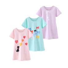 4-15T Cotton Children Girls Nightgowns New Pajama Dress Teenager Homewear Nightdress Kids Sleepwear For Baby Girl Summer Clothes