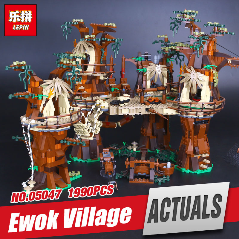 LEPIN 05047 1990Pcs Star Wars Ewok Village Model Educational Building Kits Blocks Bricks Compatible Children Toys Gift 10236 lepin 02012 city deepwater exploration vessel 60095 building blocks policeman toys children compatible with lego gift kid sets