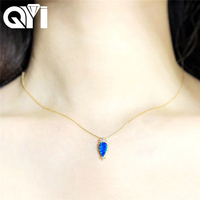 QYI Diamond Necklace for Women 18K Yellow Gold Round Opal Natual Blue Opal Pendant Engagement Wedding Link Chain