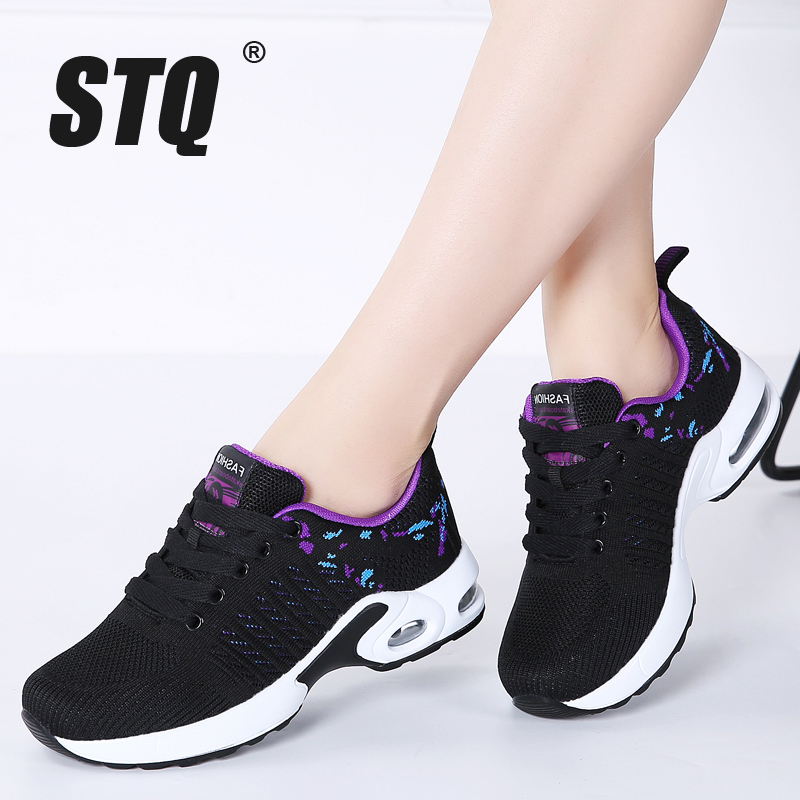 23f9ddfbba0 STQ 2019 Spring women flat platform sneakers for women breathable mesh  black sneakers shoes ladies laces walking shoes 1859