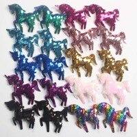 10 unids/lote bordado lentejuelas unicornio arco con pinzas de cocodrilo princesa accesorios para el cabello niñas horquillas Barrette