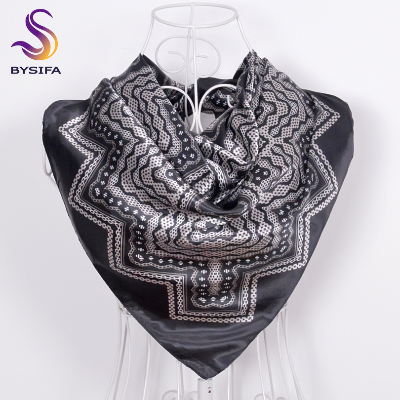 BYSIFA Winter Men Women Black White Silk   Scarf   90*90cm All-Match Geometric Pattern Big Square   Scarves     Wraps   Muslim Headkerchief