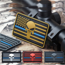 PVC Patch Skull American Flag The Stars And The Stripes Blue Line PVC Patches Military Tactical Armband Badge Clothing Badges embroidered patches united states montana state flag patch tactical 3d national flags army armband badge