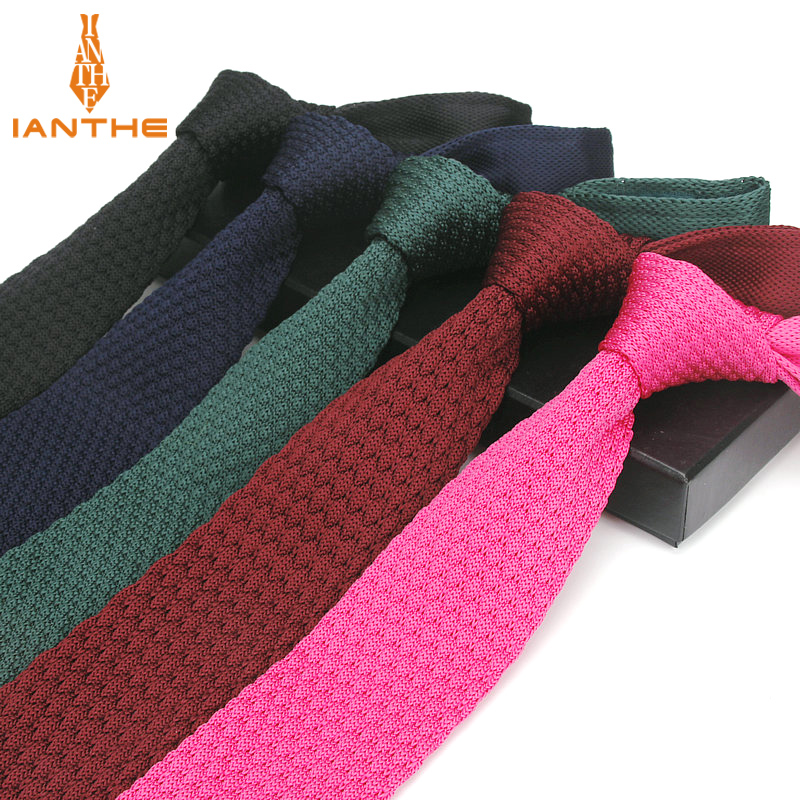Brand New Fashion Navy Black Neck Tie Wedding Knitted Ties For Men Skinny Ties Man Gravata Polyester Narrow Knitted Neckties