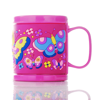 Free Shipping Plastic Milk Mugs Drinking Cups Embossed Butterfly Pink Kids Water Tumbler Mugs With Handgrip