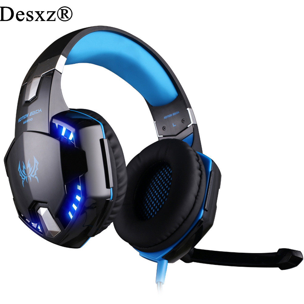 Desxz Gaming Headphone USB 7.1 Surround Stereo Headset Vibration System Rotatable Microphone Earphone Mic LED USB g2200