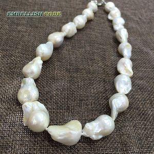 Image 5 - Selling Goed Witte Kleur Grote Maat Tissue Genucleëerde Vlam Bal Vorm Barokke Parel Ketting Zoetwater 100% Natuurlijke Parels
