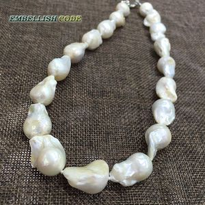 Image 5 - Vendendo bene in bianco di colore di grande formato tessuto nucleato fiamma forma di palla barocco collana di perle dacqua dolce 100% perle naturali