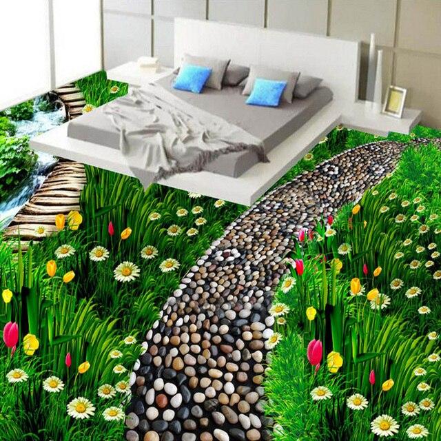 Custom 3d Floor Wallpaper Flowers Road Bathroom Kitchen: Custom 3D Floor Tiles Wear Non Slip Mural Pastoral Path