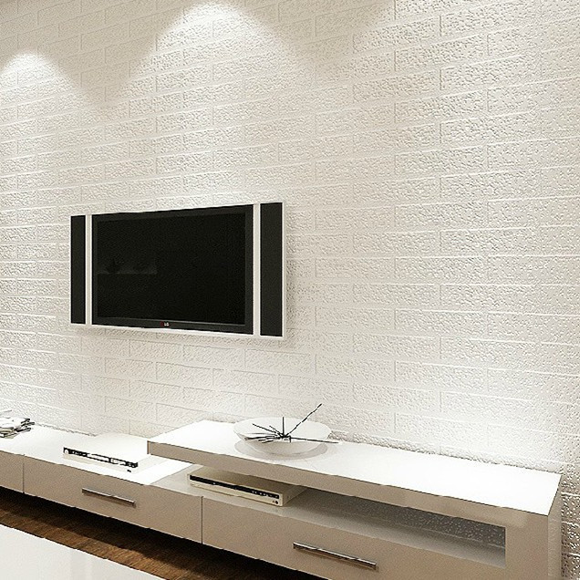 Aliexpress.com : Buy 3D White Faux Brick Wallpaper Rolls