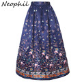 Neophil High Waist 100cm Butterfly Flower Floral Print Pleated Maxi Skirts Womens Muslim 2016 A Line Satin Skater Saias MS08004