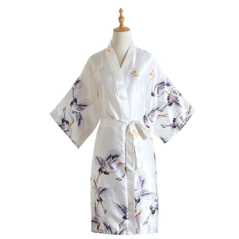 Baskı Kadın Pijama Bordo Çin Ipek Rayon Elbise Elbise Nedime Seksi Düğün Gecelik Kimono Bornoz Bir Boyut