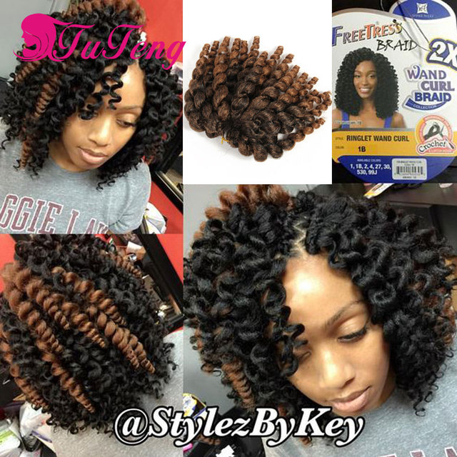 Wholesale 10 Inch Wand Curl Crochet Hair Extensions Ombre