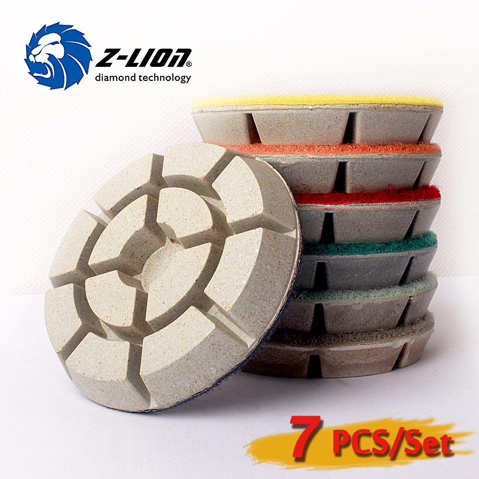 Z Lion 3 80mm Floor Polish Discs 7pcs Lot Dry Wet Diamond Polishing Pads for Marble