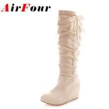 Airfour 4สีซ่อนรองเท้าส้นสูงผู้หญิงบู๊ทส์รอบนิ้วเท้าPUจีบรองเท้าแฟชั่นสำหรับสาวๆปมแข็งฤดูใบไม้ร่วงฤดูหนาวรองเท้า