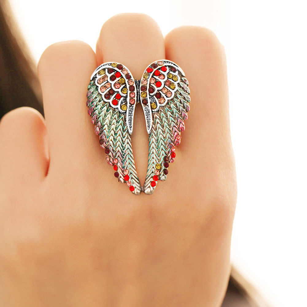 Wings Stretch Ring Women Biker Bling Jewelry Antique Gold & Silver Color Crystal Wholesale Dropshipping